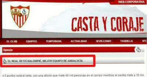 Captura de pantalla de la web corporativa en el momento del suceso.