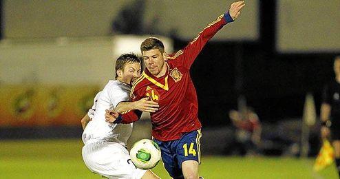 Alberto Moreno en su debut con la selección sub 21.