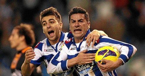 Riki celebra uno de los trece goles que ha marcado en el presente curso con el Deportivo.