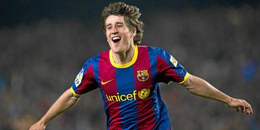 Bojan celebrando un gol con el Barcelona