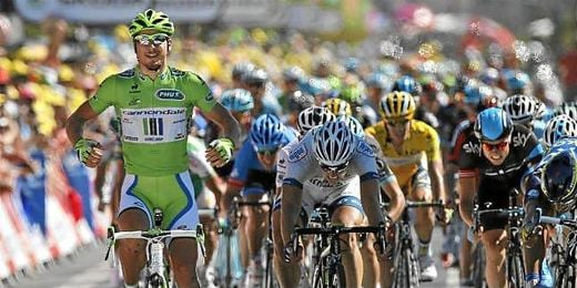 Peter Sagan celebrando la victoria de etapa.