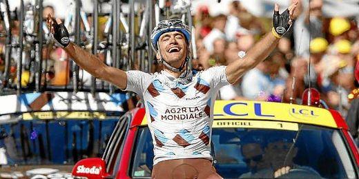 Chritophe Riblon celebrando un triunfo de etapa en 2010.