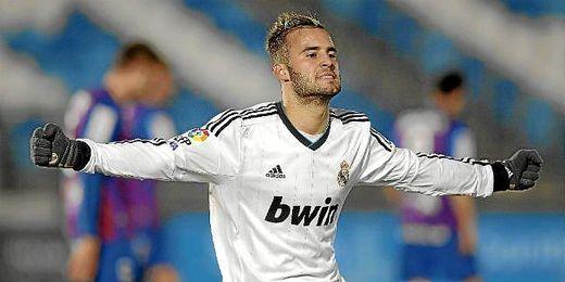 Jesé celebrando un gol con el Real Madrid Castilla.