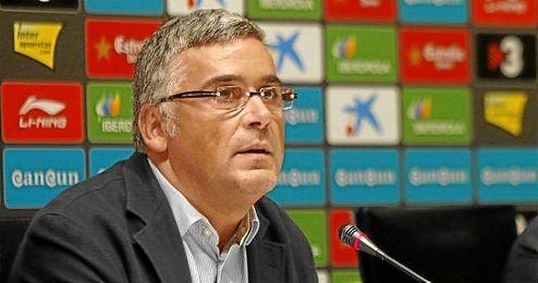 El presidente del Espanyol durante una rueda de prensa.