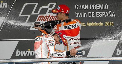Pedrosa celebrando su podio en el pasado GP de España.