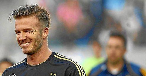 David Beckham durante un encuentro como jugador de Los Ángeles Galaxy.