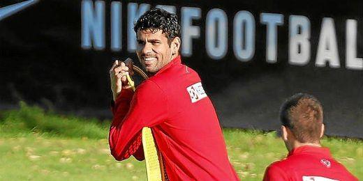 Diego Costa, durante un entrenamiento con el Atlético de Madrid.