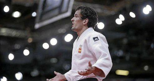 El judoca vitoriano Sugoi Uriarte defendiendo a España.