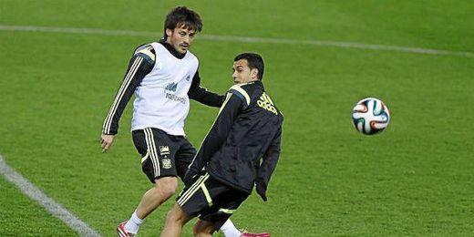 Silva entrenando junto a Pedro