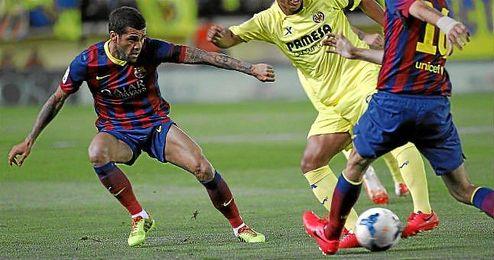 Dani Alves durante el encuentro del 27 de abril contra el Villarreal.