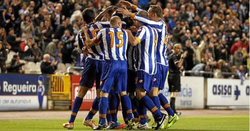 Deportivo de la Coruña se celebra un gol de Lopo en un partido contra el Tenerife.