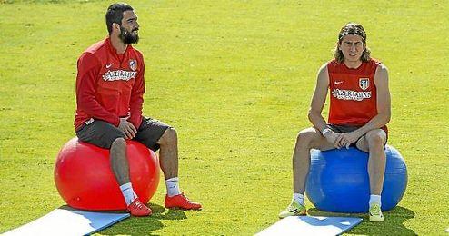 Diego Simeone y Diego Costa en entrenamiento en Majadahonda.