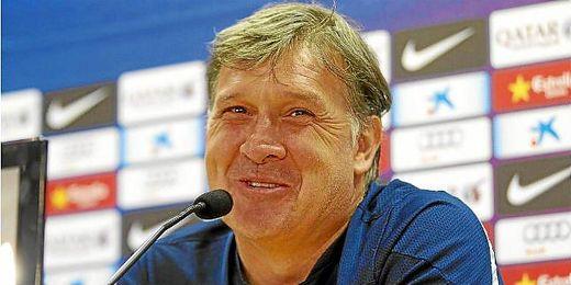 El Tata Martino en su última rueda de prensa como técnico del Barça.