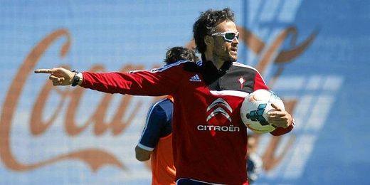 Luis Enrique durante uno de los entrenamientos de esta temporada con el Celta de Vigo.