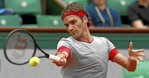 Roger Federer, durante su partido ante Lacko.