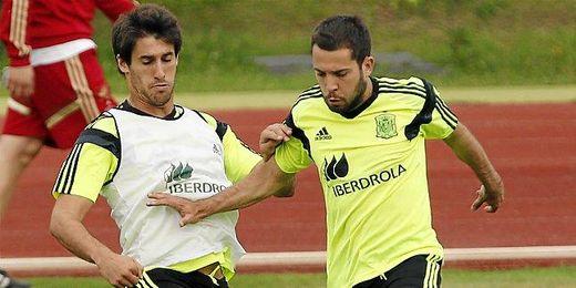 Jordi Alba durante uno de los entrenamientos de la Selección.
