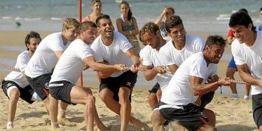 Los jugadores durante la pretemporada del año pasado en Costa Ballena.