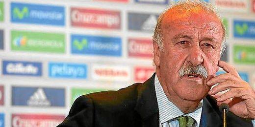 Del Bosque durante una rueda de prensa previa al Mundial.