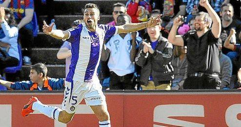 Rossi, celebra un gol ante el Valladolid.