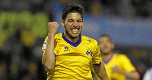 Dani Pacheco celebra un tanto con el Alcorcón la pasada temporada.