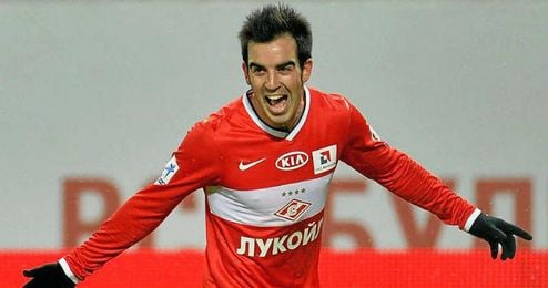 Jurado, celebra un tanto con su actual club, el Spartak.