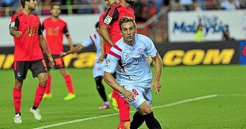Deulofeu celebra su gol a la Real.
