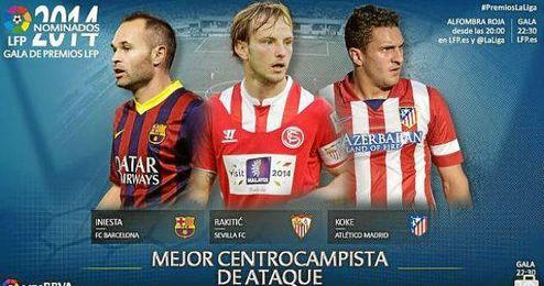 Iniesta, Rakitic y Koke, mejores centrocampistas de ataque de la 13/14.