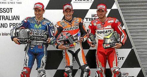 Márquez, junto a Lorenzo y Crutchlow, los tres saldrán de la primera línea.