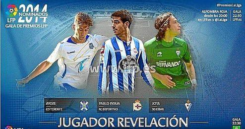 Los tres nominados a jugador revelación en la Liga Adelante.