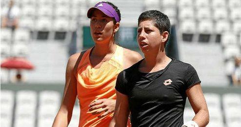 Las españolas vencieron a las número dos en semifinales del Mutua Madrid Open.