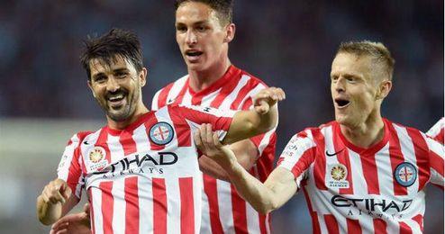 Villa celebrando un gol con el Melbourne City.