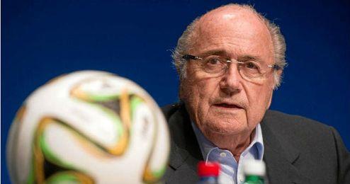 Blatter en la presentación del logotipo del Mundial de Rusia 2018.