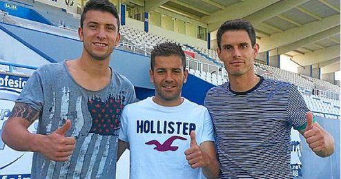 Rubén Peña en el centro junto a sus compañeros Borja Lázaro y César Soriano.