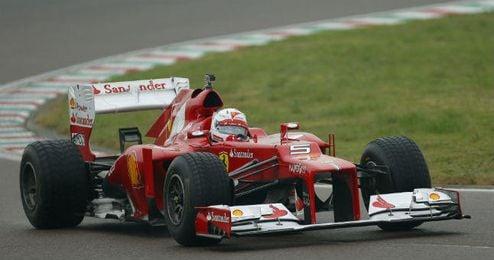 Sebastian Vettel en su primer entrenamiento con Ferrari
