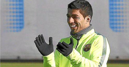 Luis Suárez durante un entrenamiento de hoy.
