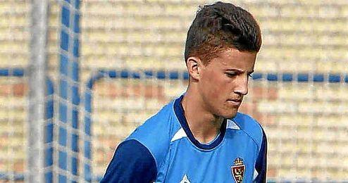 Carlos Nieto durante un entrenamiento con el Zaragoza.