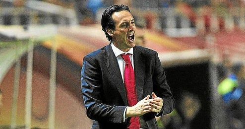 Unai Emery durante el partido del Sevilla frente al Rijeka.