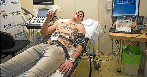 El central durante el reconocimiento médico.
