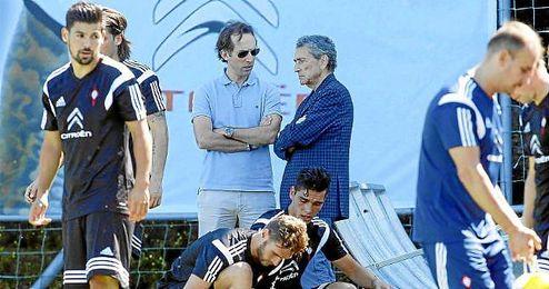Mouriño, presidente del Celta, en un entrenamiento.