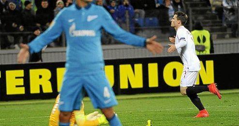 Gameiro celebra el gol ante el Zenit.