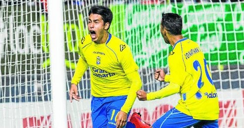 Araújo celebra un tanto con Las Palmas.