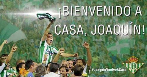 Con esta imagen ha anunciado el Betis la vuelta de Joaquín.
