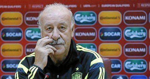 Vicente del Bosque hoy en la rueda de prensa.