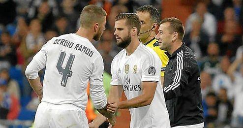 Nacho entr� sustituyendo a Sergio Ramos ante el Shakhtar.