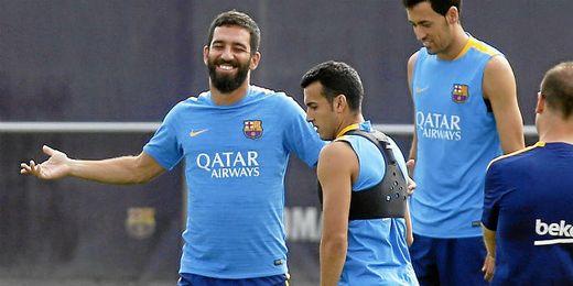 Arda, en un entrenamiento con el Barcelona durante el pasado verano.