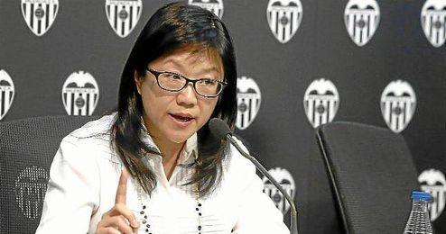 Lay Hoon, presidenta del Valencia, en la rueda de prensa de hoy.