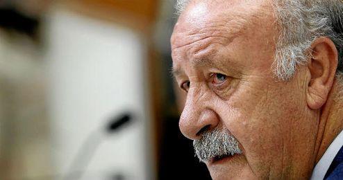 Del Bosque durante su rueda de prensa en Las Rozas.