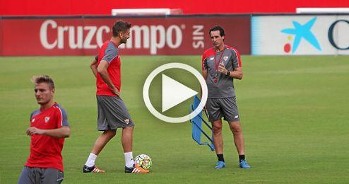 Llorente y Vitolo se han entrenado esta tarde con el grupo.