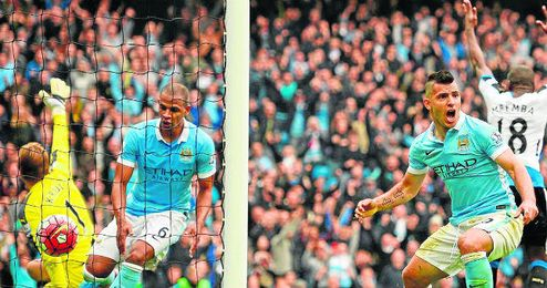 Ag�ero anot� cinco goles para el Manchester City.