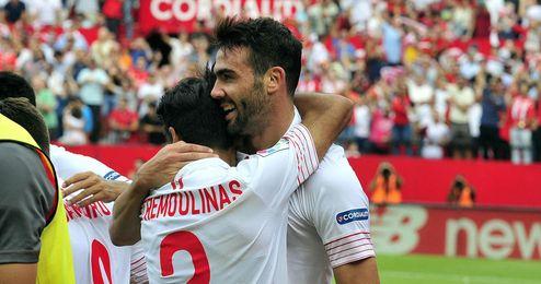 Iborra celebró con rabia su gol ante el Barça.